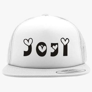 joji white hat black text at front